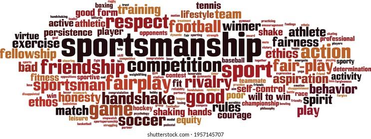 Sportsmanship word cloud concept. Collage made of words about sportsmanship. Vector illustration