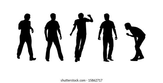 Sportsmen silhouettes on the white background