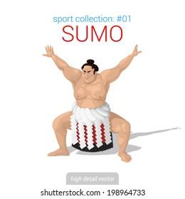 Sportsmen vector collection. Sumo fighter. Sportsman high detail illustration.