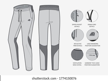 Sportswear Activewear Fashion Template Track pants knitted woven slim fit running pants for Men's and Women's