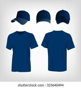 Sportswear blue t-shirt und blue baseball cap Vektorset