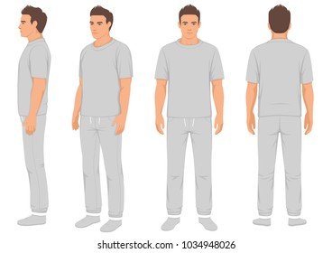 sportswear fashion man isolated, front, back and side view, vector illustration of male in tracksuit