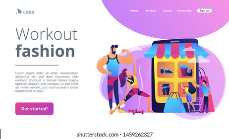 Sportswear Internet store, sports goods online ordering. Workout fashion, cool workout outfits, gym clothing trends, your workout style concept. Website homepage landing web page template.