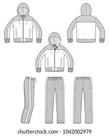 Sportswear jacket pants Set vector illustration flat sketches template