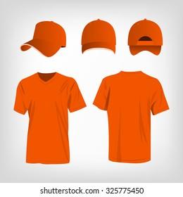 Sportswear orange t-shirt and orange baseball cap vector set