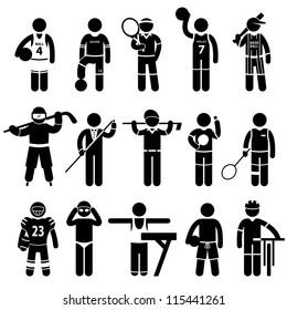Sportswear Sports Attire Clothing Apparel Player Athlete Wear Shirt Stick Figure Pictogram Icon