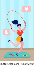 Sportswoman Jumping Rope Flat Vector Illustration. Young Woman Working out Cartoon Character. Home Workout, Fitness Channel. Online Sport Blog. Gym Mat with Dumbbells. Healthy Lifestyle