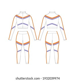 Sportwear White and Strip Woman Version 1 Front and Back, Template for Commercial Use