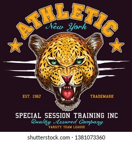 sporty athletic new york leopard tee graphic design
