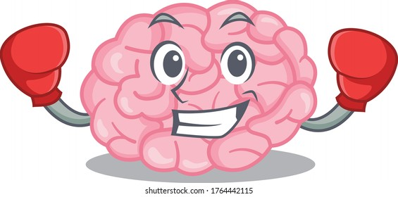A sporty boxing athlete mascot design of human brain with red boxing gloves