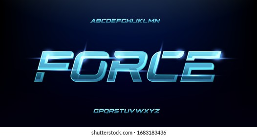 sporty futuristic blue glow modern alphabet fonts. technology typography bold and italic font uppercase. vector illustration