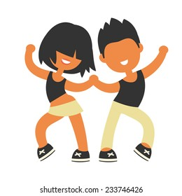 Sporty girl and boy dancing together. None stroke cartoon flat style, vector illustration.