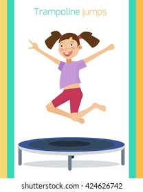 Sporty girl jumping on trampoline. Trampolining training. Jumping exercise. Vector illustration. Flat cartoon style