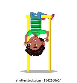 Sporty Little Boy Hanging On Horizontal Bar Upside Down Vector Flat Cartoon Illustration
