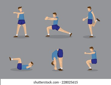 Sporty man in blue singlet and shorts doing stretches and warm-up exercises. Vector illustration set isolated on grey background.