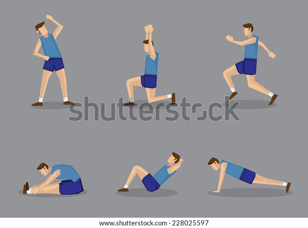 Sporty man in blue singlet and shorts doing stretching and warming up exercises. Vector illustration set isolated on grey background.