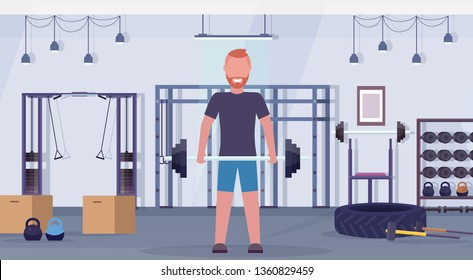 sporty man lifting barbell with weights bodybuilder training in gym work out healthy lifestyle concept modern health club studio interior horizontal flat
