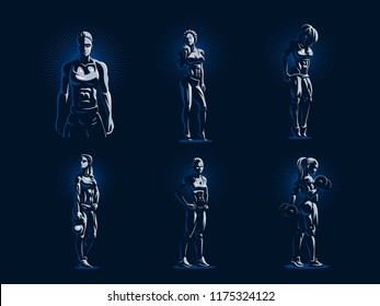 Sporty muscular woman fitness emblem. Set of Vector illustration.