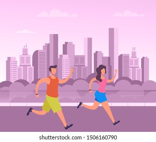Sporty people characters man and woman running public park. Vector flat graphic design cartoon illustration