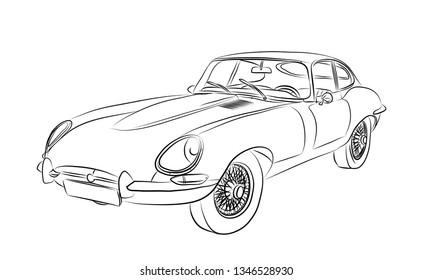 Sporty retro car jaguar e-type drawn sketch on white background.