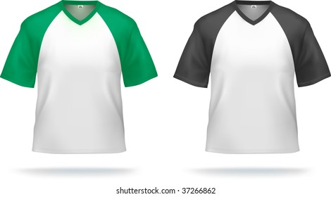 Sporty T-shirts with triangle collar (colored shoulders & sleeves). Can be used as design template. Contains lot of details, gradient mesh & clipping masks used.