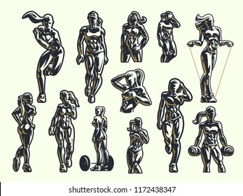 Sporty woman fitness emblem set. Vector illustration.
