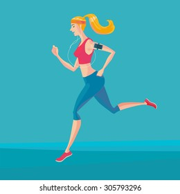 Sporty young woman jogger listening to music on smartphone. Runner with smartphone armband. Vector Illustrator.