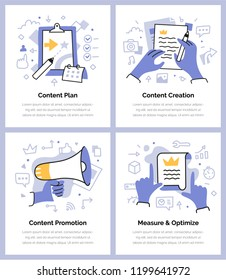 Spot doodle illustrations of creating, promoting, measuring and optimizing content. Content strategy concepts for web, mobile application or printed materials