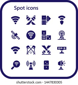 spot icon set. 16 filled spot icons.  Collection Of - Wifi, Spotlight, Domino, Wireless, Signal, Dominoes