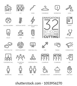 Spot icons. Navigation room sign. Modern vector plain simple thin line design icons and pictograms set. Toilet, lift, cloakroom, gym, shower room, trainer room, staff only, inventory