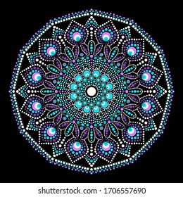 Spot painting point to point. Abstract design of mandala in dot paint style. Aboriginal-style dot painting