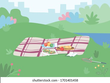 Spot for picnic flat color vector illustration. Blanket with food on plated to have dinner outside. Place for leisure on grass hill. Park 2D cartoon landscape with cityscape and bushes on background