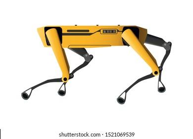 SPOT Robot Dog vector flat graphic illustration. Industrial sensing and remote operation needs. Spot Mini Robot guard.
