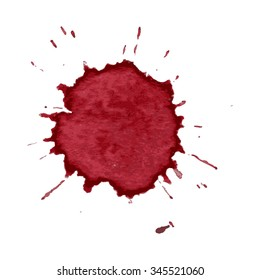 Spot spray of red wine on a white  background