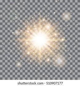Spotlight background. Gold lights. Christmas bokeh. Magic stars. Vector illustration of a transparent backdrop.