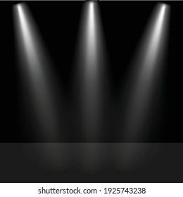 Spotlight in dark room. Spotlight shine on floor