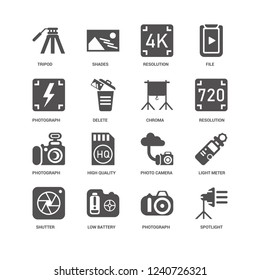 Spotlight, Delete, Tripod, Shades, Light meter, Photo camera, High quality, Photograph icon 16 set EPS 10 vector format. Icons optimized for both large and small resolutions.
