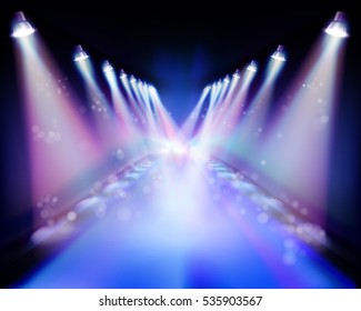 Spotlight during the performance. Vector illustration.