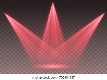 Spotlight effect illuminated illustration. Red glowing stage light ray isolated on empty transparent background. Vector bright scene spotlight. Shine theater vertical projector beam for your design