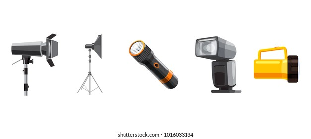 Spotlight icon set. Cartoon set of spotlight vector icons for web design isolated on white background