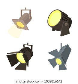 Spotlight icon set. Cartoon set of spotlight vector icons for web design isolated on white background