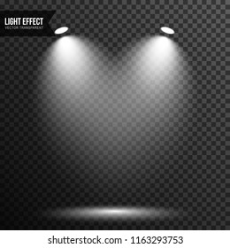 Spotlight illuminated scene, stage, podium light effect vector transparent