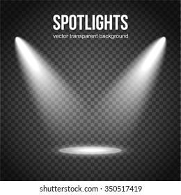 Spotlight isolated on transparent background. Light Effects. Scene illumination. Vector eps 10 format.