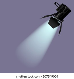 Spotlight with light beam. Vector illustration