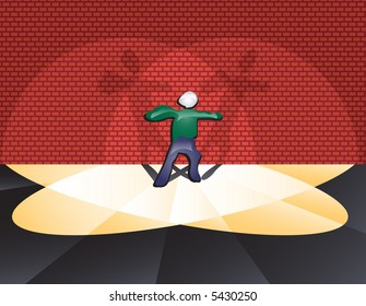 Spotlight metaphor: person caught in a double beam spotlight (indecisive...stage fright...celebrity...fear...etc.) Vector.