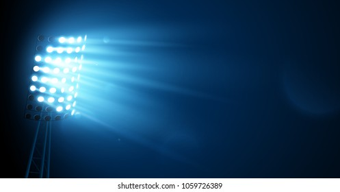 Spotlight on the Football Arena. Night Lights. Vector illustration