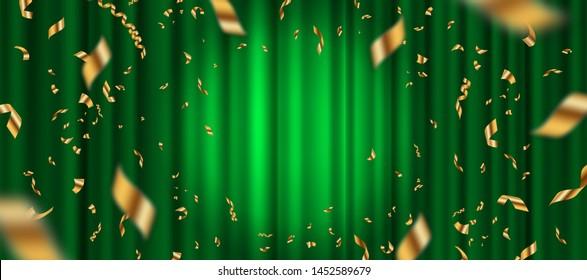 Spotlight on green curtain background and falling golden confetti. Vector illustration.