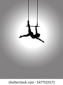 Spotlight on the silhouette of a solo trapeze artist hanging on a swinging bar. Vector illustration.