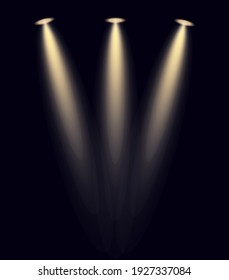 spotlight on stage. Bright lighting with spotlights. Spot lighting of the stage. Scene illumination, transparent effects on a plaid dark background.  Winner stand with spotlights.