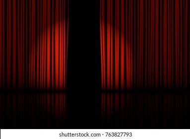 Spotlight on stage curtain Vector illustration EPS